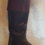 Black leather livery boots